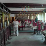 Speisesaal in dem Seniorenheim an der Donau, Ungarn